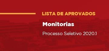 Divulgada lista de aprovados no Processo Seletivo de Monitorias 2020.1
