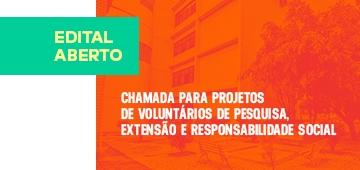 Publicado edital para submissão de projetos voluntários de Pesquisa, Extensão e Responsabilidade Social
